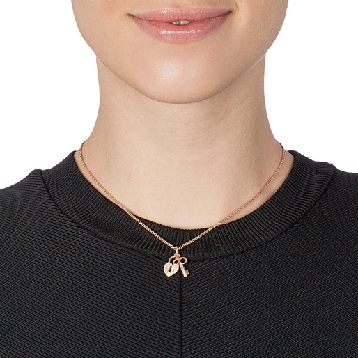 Charm Mates Rose Gold Plated Short Necklace-