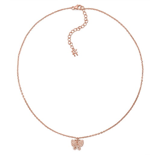 Wonderfly Rose Gold Plated Short Necklace-
