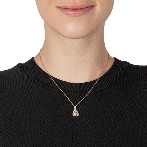 Sparkle Chic Rose Gold Plated Short Necklace  -