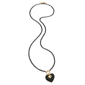 Style Stories Black Plated Long Necklace-