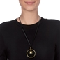 Style Stories Black Leather Cord Long Necklace-