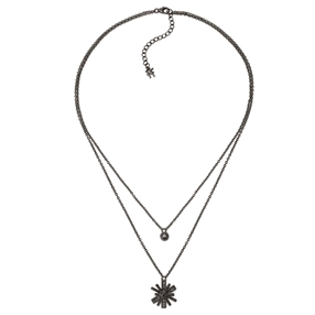 Star Flower Black Rhodium Plated Small Motif Short Necklace-