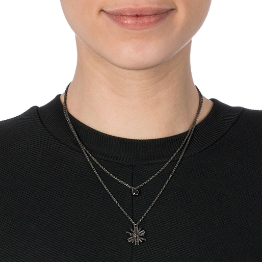 Star Flower Black Flash Plated Small Motif Short Necklace-