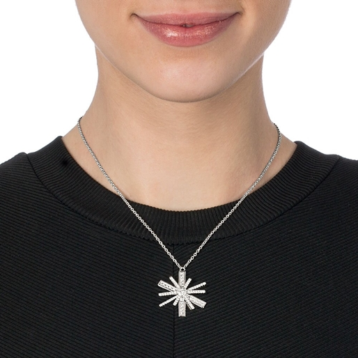 Star Flower Silver 925 Large Motif Short Necklace-