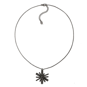 Star Flower Black Rhodium Plated Large Motif Short Necklace-