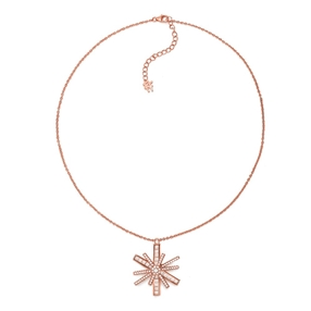Star Flower Rose Gold Plated Large Motif Short Necklace-
