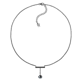 Acro Balance Silver 925 Black Flash Plated Short Necklace-
