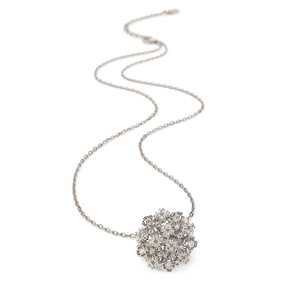 FF Bouquet Silver 925 Rhodium Plated Short Necklace-