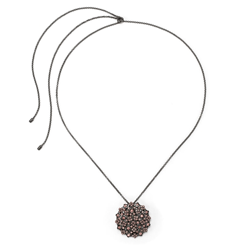 FF Bouquet Silver 925 Black Plated Long Necklace -