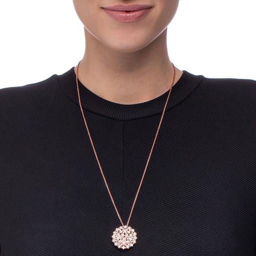 FF Bouquet Silver 925 Rose Gold Plated Long Necklace -