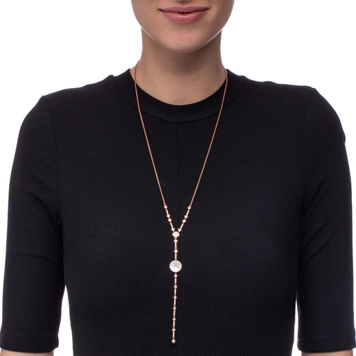 Heart4Heart Mirrors Silver 925 Rose Gold Plated Long Necklace -