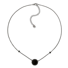 Heart4Heart Mirrors Silver 925 Black Plated Short Necklace-