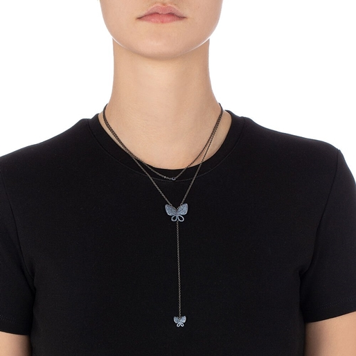 Wonderfly Silver 925 Black Flash Plated Double Chain Short Necklace -