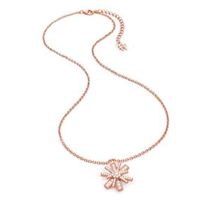 Star Flower Flash Silver 925 Rose Gold Plated Μεσαίο Μοτίφ Κοντό Κολιέ-