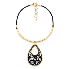 Desire Drops Leather Cord Collar Necklace-