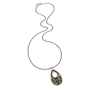 Desire Drops Black Plated Long Necklace-