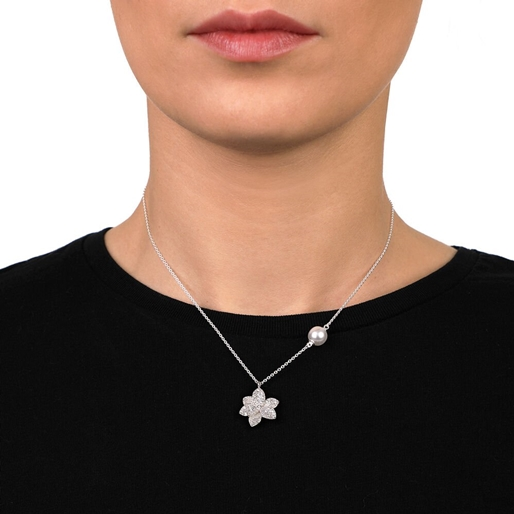 Blooming Grace Silver 925 Short Necklace-