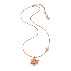 Blooming Grace Silver 925 18k Rose Gold Plated Κοντό Κολιέ-