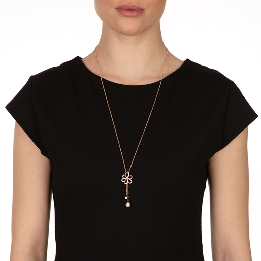 Flower Power 18k Rose Gold Plated Brass Adjustable Long Necklace-