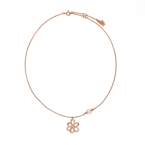 Flower Power 18k Rose Gold Plated Brass Κοντό Κολιέ-