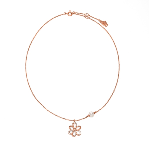 Flower Power 18k Rose Gold Plated Brass Short Necklace-