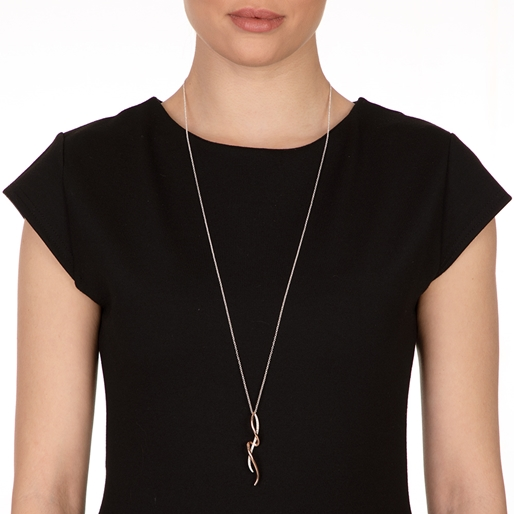 Fluidity 18k Rose Gold Plated Brass and Silver Plated Brass Long Necklace-