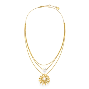 Dainty World Silver 925 18k Yellow Gold Plated Κοντό Κολιέ-