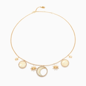 Celestial Glow silver 925° chain necklace with 18K yellow gold plating, motifs of sun, moon and planets with ivory iridescent acrylic and clear cz stones-