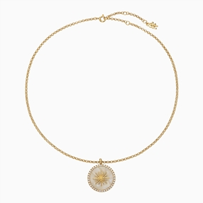 Celestial Glow silver 925° chain necklace with 18K yellow gold plating, sun motif with ivory iridescent acrylic and clear cz stones-
