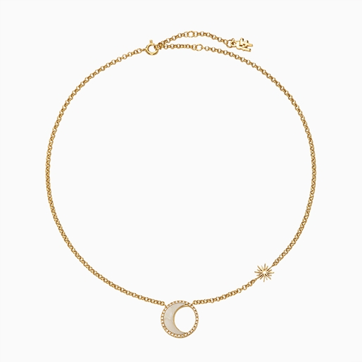 Celestial Glow silver 925° chain necklace with 18K yellow gold plating, moon and sun motifs with ivory iridescent acrylic and clear cz stones-