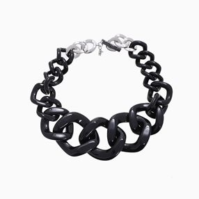 Impress Me chain necklace, large square black resin rings and zinc metal parts-