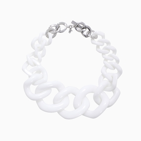 Impress Me chain necklace, large square white resin rings and zinc metal parts-