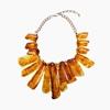 Impress Me chain necklace, rectangular amber resin motifs and zinc metal parts