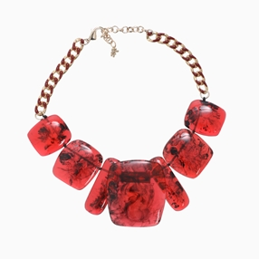 Impress Me chain necklace, rectangular amber resin motifs and zinc metal parts-