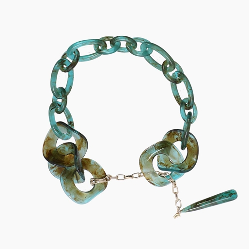 Resin chain necklace, green resin rings with hanging drop motif and zinc metal parts-