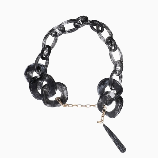 Impress Me chain necklace, black resin rings with hanging drop motif and zinc metal parts-