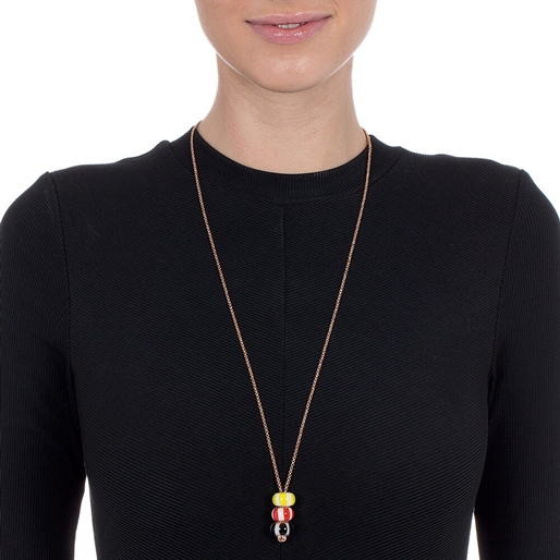 Club Riviera Rose Gold Plated Mourano Glass Bead Pendant -