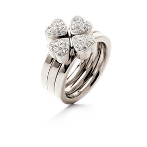 Heart4Heart Silver Plated Σετ Τριών Δαχτυλιδιών Pave Κρυστάλλινες Πέτρες-