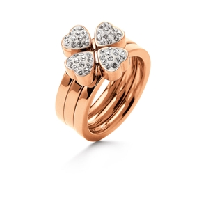 Heart4Heart Rose Gold Plated Σετ Τριών Δαχτυλιδιών Pave Κρυστάλλινες Πέτρες-