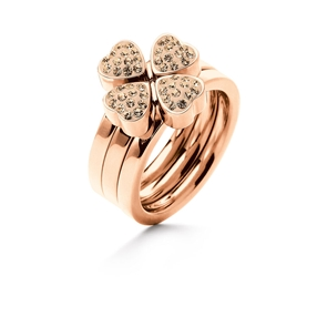 Heart4Heart Rose Gold Plated Σετ Τριών Δαχτυλιδιών Pave Champagne Κρυστάλλινες Πέτρες-