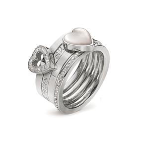 Winter Wonders silver plated σετ τεσσάρων δαχτυλιδιών με διάφανες κρυστάλλινες πέτρες & mother of pearl-