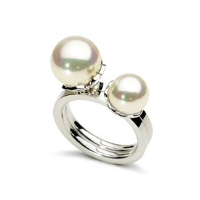 Grace Two Pieces Silver Plated Pearl Ring-