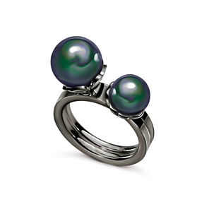 Grace Two Pieces Black Plated Dark Green Pearl Ring-