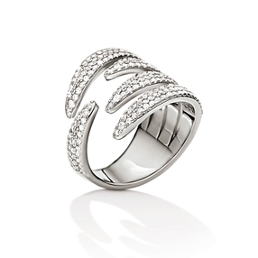 Fashionably Silver Temptation Rhodium Plated Stone Ring-