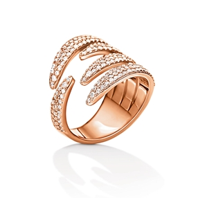 Fashionably Silver Temptation Rose Gold Plated Stone Ring-