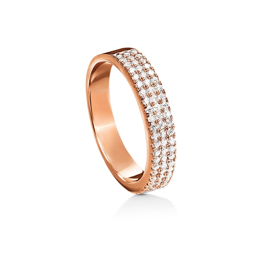 Fashionably Silver Essentials Rose Gold Plated Three Row Band Ring-