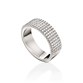 Fashionably Silver Essentials Rhodium Plated Five Row Band Ring-
