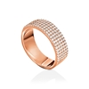 Fashionably Silver Essentials Rose Gold Plated Five Row Band Ring
