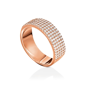 Fashionably Silver Essentials Rose Gold Plated Σιρέ Δαχτυλίδι-