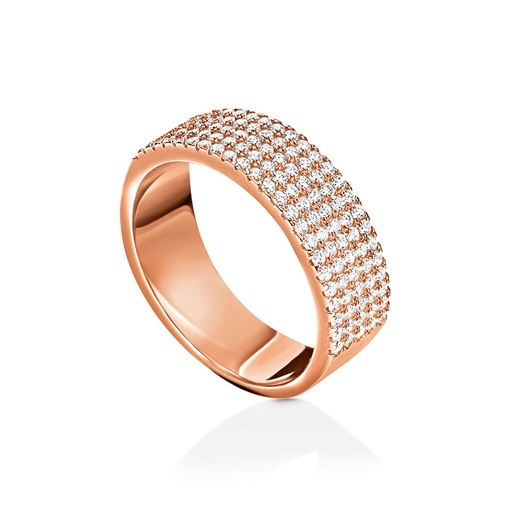 Fashionably Silver Essentials Rose Gold Plated Five Row Band Ring-